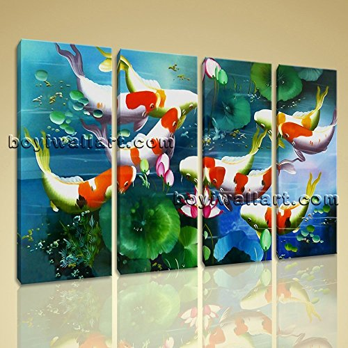 ing Feng Shui Contemporary Canvas Wall Art Decor Living Room, Large Koi Fish Wall Art, Living Room, Burnham (Contemporary Fish Art)