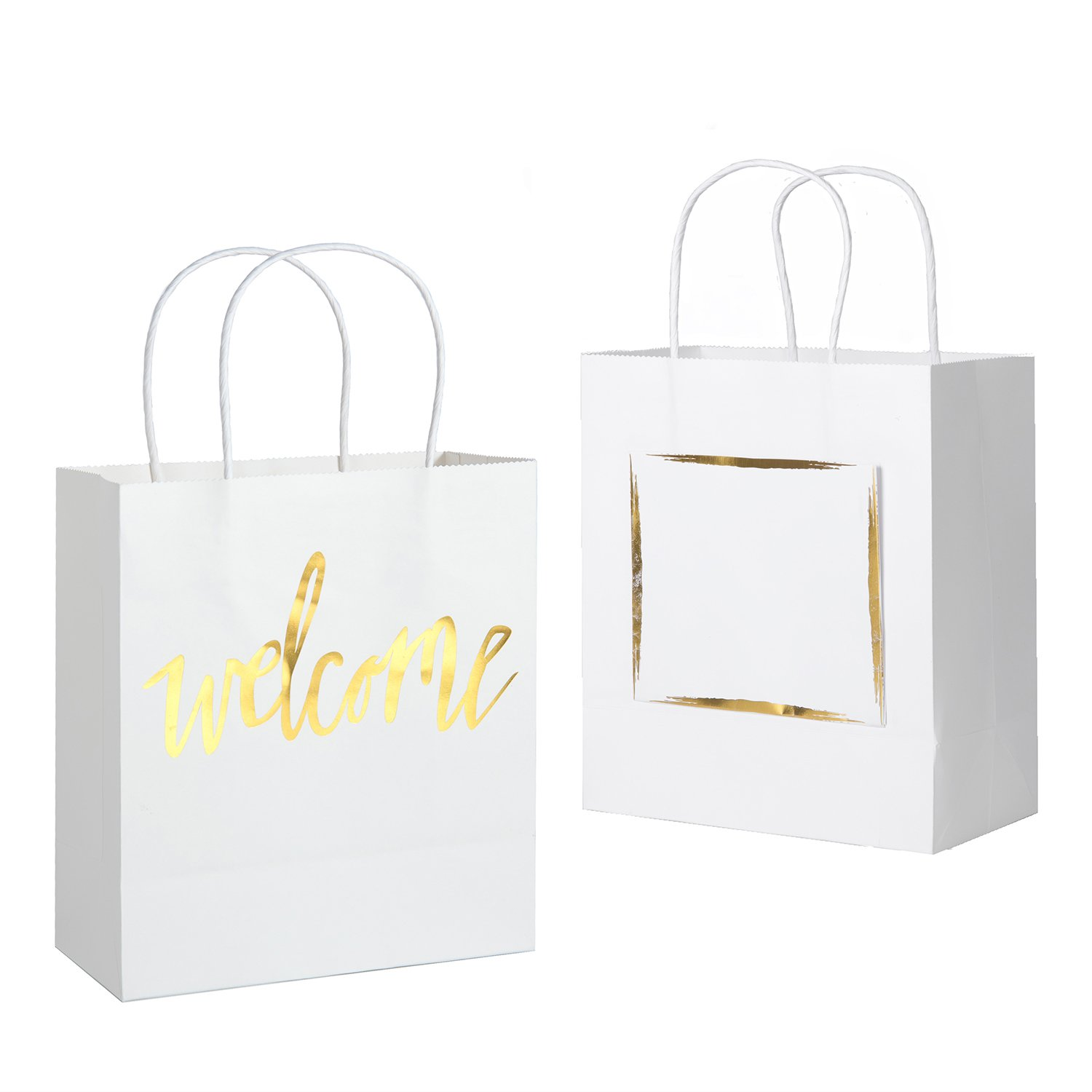 Ling's Moment Set of 25 White Welcome Gift Bags with Gold Foil Pocket for Wedding Hotel Guests, Weekend Wedding Guests, Destination Wedding Favors