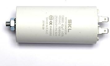 MKP-Anlaufkondensator 40uF//400V Kunststoffbecher Kabel 250mm
