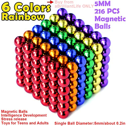 aBrilliantLife 5MM 216 Pieces Multicolored Magnet Balls Toys Sculpture Building Magnetic Blocks Magnets Cube Gift for Intellectual Development -Office Toy Stress Relief Gifts for Teens and ADU 6 Color