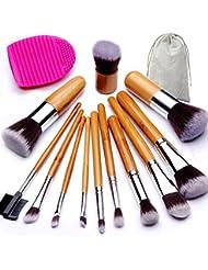 BEAKEY Makeup Brush Set, Bamboo Handle Premium Synthetic Kabuki Foundation Blending Blush Eyeshadow Concealer Powder Brush Kit, with 1 Brush Egg & 1 Cloth Bag (12+2 Pcs)