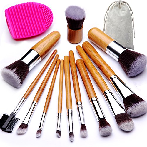 BEAKEY Makeup Brush Set, Bamboo Handle Premium Synthetic Kabuki Foundation Blending Blush Eyeshadow Concealer Powder Brush Kit, with 1 Brush Egg & 1 Cloth Bag (12+2 Pcs) -