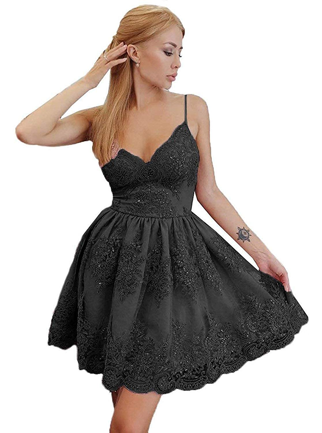 Black Sulidi Womens Spaghetti Straps Lace Homecoming Dresses Short 2019 V Neck Party Gowns C132