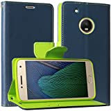 DMG Synthetic Leather Slim Wallet Flip Cover Case with Card Slots and Magnet Closure for Moto G5 Plus (Pebble Blue)