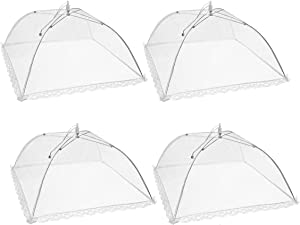 Mesh Food Covers,TOUGS 17x17Inch Pop-Up Mesh Food Cover Tent Umbrella for Outdoors, Screen Tents, Parties Picnics, BBQs, Reusable and Collapsible,4 Pack