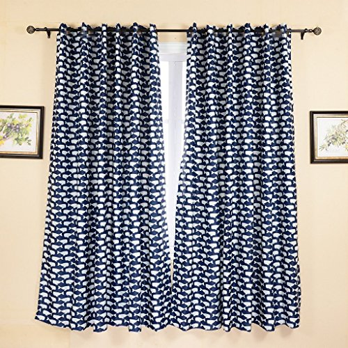 WPKIRA Window Treatment Kids Room Blackout Curtains Room Darkening Thermal Insulated Blackout (Lattice Panel Bed)