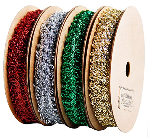 Laribbons 1/4 inch Wide Metallic Picot Braid Trim for Craft – 10 Yard 4 Color(Gold/Silver/Red/Green)