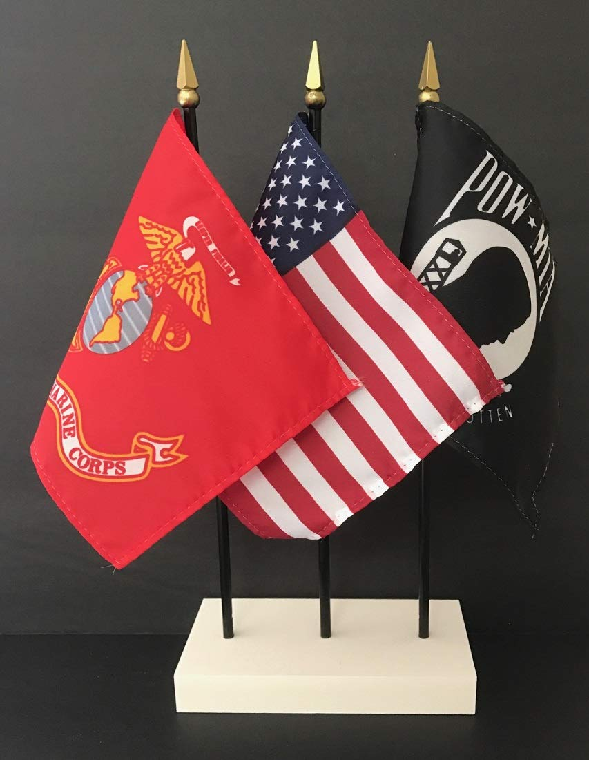 """Made in The USA. 1 American, 1 Marine Corps and 1 POW/MIA 4""""x6"""" Miniature Desk & Table Flag, Includes Custom Made White Flag Stand & 3 Small Mini Stick Flags (4x6 US Marines Flag Set)"""