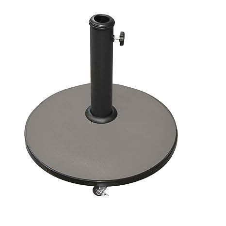 Pie de sombrilla redonda con ruedas en cemento – 25 kg – Taupe