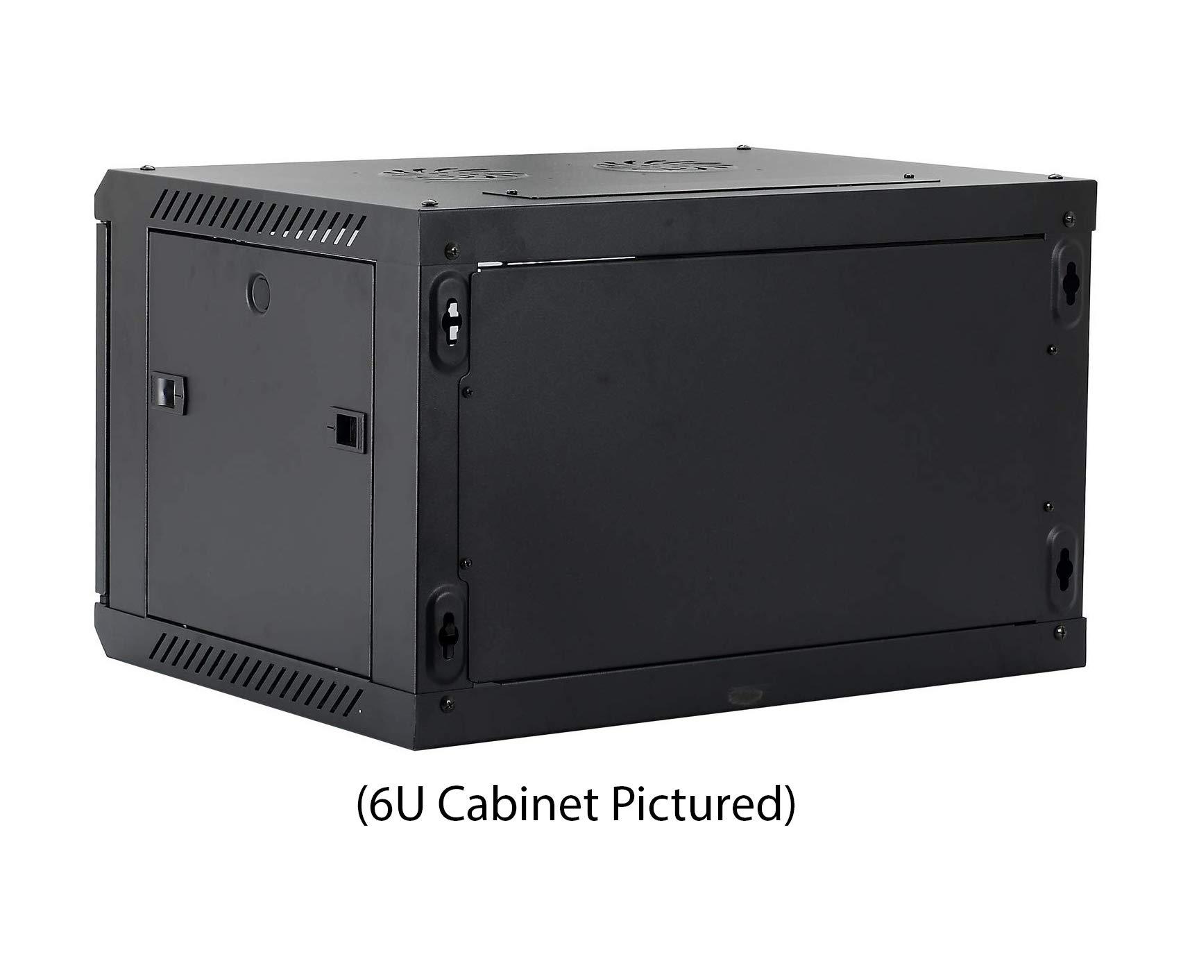 Kenuco 9U Wall Mount Rack Server Cabinet Data Network Enclosure 19-Inch Server Network Rack with Locking Glass Door Black by KENUCO (Image #6)