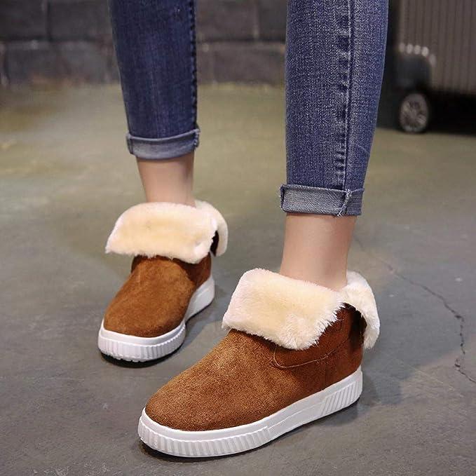 ZHRUI Botas Mujer Zapatos Botines Moda Mujer Sólido Faux Suede Cálido Botas para la Nieve Creepers Plataforma Zapatos Casuales Botines (Color : Amarillo, ...