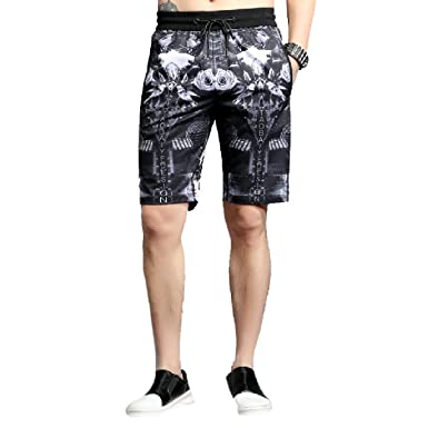 b100814c46 AngelSpace Men's Leisure Individuality Graphic Print Summer Cargo Shorts  Pants Black XL