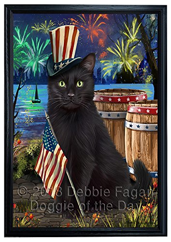 Independence Day Fireworks Black Cat at the Lake