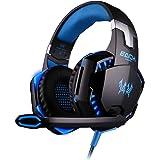 EACH G2000 Cuffie gaming Nero-Blue :Gaming Headphone con Microfono Stereo Bass LED Luce Regolatore di Volume per PC Blue