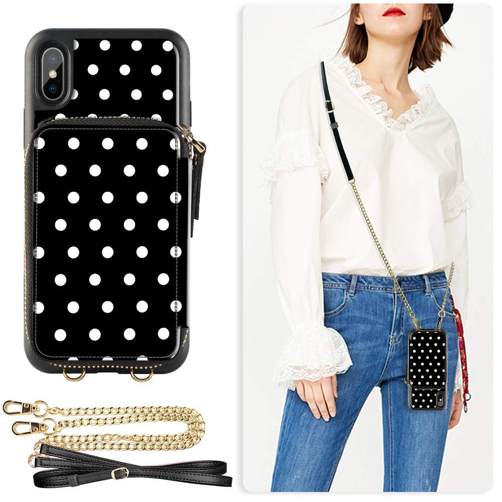 ZVE Wallet Case for iPhone Xs Max, 6.5 inch, Case with Credit Card Holder Slot Crossbody Chain Handbag Purse Wrist Zipper Strap Case Cover for Apple iPhone Xs Max 6.5 inch - Polka Dots by ZVE