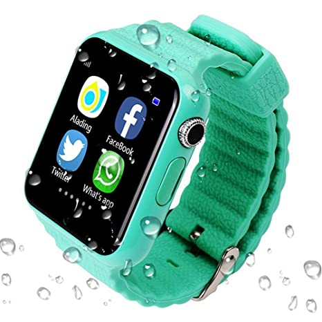 ... GPS Tracker Smartwatch V7K With Camera Facebook Kids SOS Emergency Security Anti Lost For IOS Android iPhone Samsung (GREEN): Cell Phones & Accessories