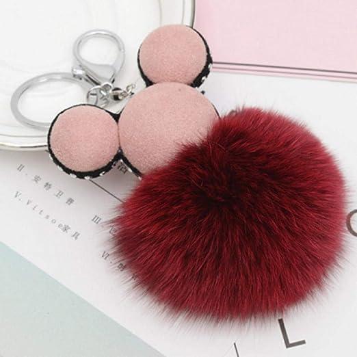 QUANWU - Llavero de Mickey Pompon para Mujer, diseño de ...
