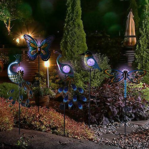 """Hannah's Cottage 31.5"""" Outdoor Paradise Metal Garden Stake with Solar Led Lights, Decorative Solar Peacock Stake for Garden, Patio, Backyard and Outdoor (Green and Blue) by Hannah's Cottage (Image #8)"""