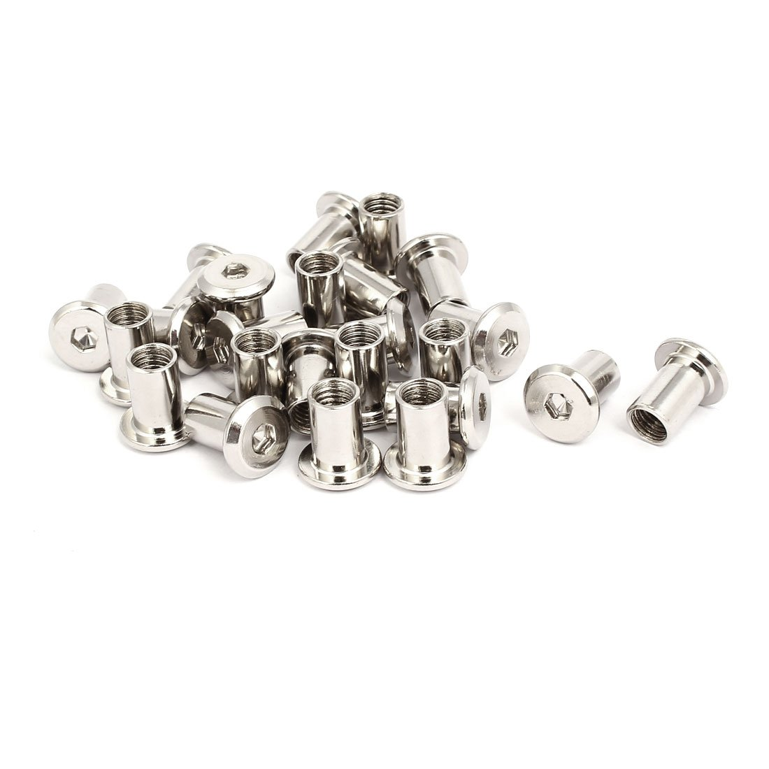 uxcell M8x15mm Female Thread Hex Socket Head Barrel Nut Furniture Fittings 24pcs