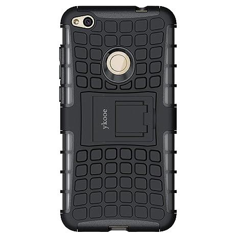 "ykooe Funda Huawei P8 Lite 2017, Teléfono Híbrida de Doble Capa con Soporte Carcasa para Huawei P8 Lite 2017 5,2"" Negro"