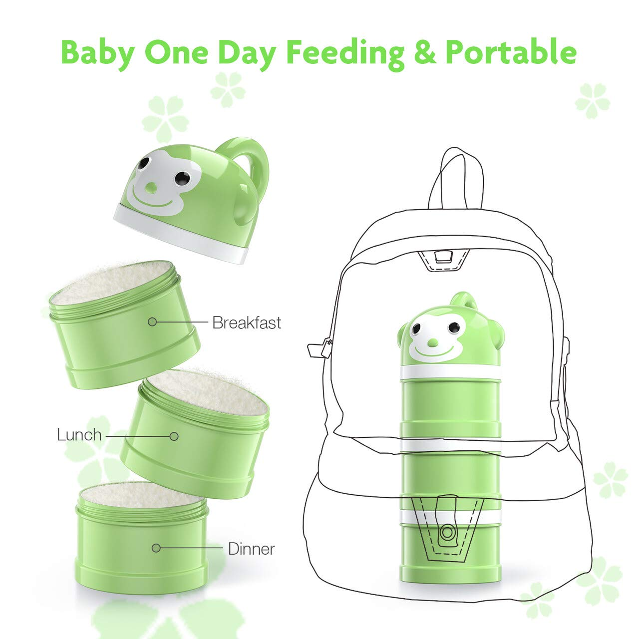 BabyKing Baby Suction Bowl and Spoon Set, Baby Feeding Set, Harmless Cartoon Child Tableware Set, Stay Put Baby Suction Bowl Spill Proof, Spoons Forks Set, 3 Milk Powder Dispensers for Baby's 3 Meals