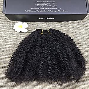 "Full Shine 20"" 7 Pieces 100g Clip in Natural Black Afro Curl Hair Extension Good Quality for Africa Women 100% Brazilain Remy Human Hair Extension"