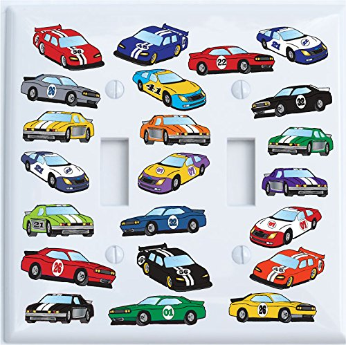 Double Toggle Stock Race Car Light Switch Plate Covers/Race Car Room Decor (Double Toggle Switch Plate)