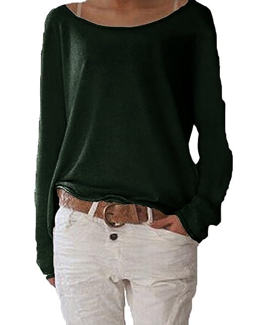 Extrem Jevvia Damen Langarm T-Shirt Rundhals Ausschnitt Lose Bluse Hemd  PQ02