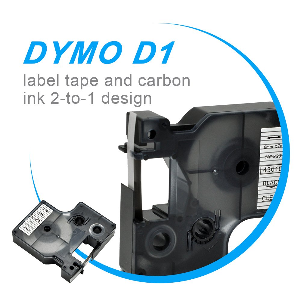 Compatible DYMO D1 Label Tape 43610 Black on Clear Labeling Cassette 1//4 Inch X 23Feet Cartridges Pack of 2 Refills