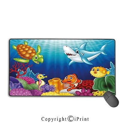 Amazon Com Large Mouse Pad Aquarium Cartoon Tropical