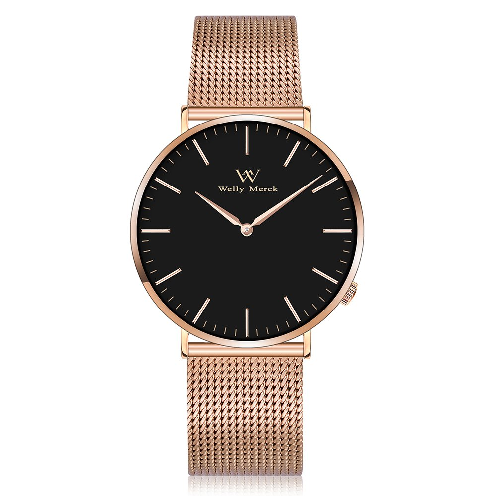 Welly Merck Women's Luxury Watch Minimalistic Quartz Movement Sapphire Crystal Analog Wrist Watch with Rose Gold Stainless Steel 18mm Width Mesh Interchangeable Strap, 98ft 30M 3ATM Water Resistant