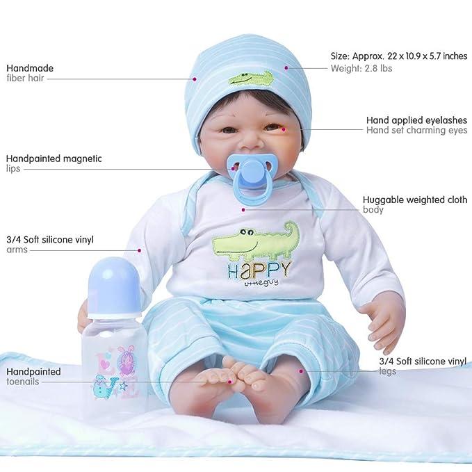 Amazon.com: Vida real muñecas Reborn Baby de silicona Boy ...