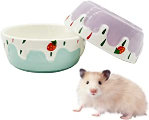 Hamster Food Bowl,Small Animals Ceramic Food Water Bowl Prevent Tipping Moving for Guinea Pig Rabbit Gerbil Chinchilla Hedgehog Rat (2 Pack) (- Color: Purple + Blue)