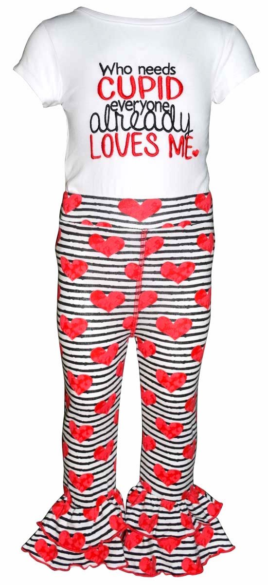 """Unique Baby Girls """"Who Needs Cupid"""" Valentine's Day Outfit (6)"""