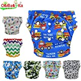 Ohbabyka Baby Washable Reusable Training Nappies Pants 7PCS Pack, With Baby Nipple Food Feeder as a gift