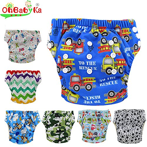 (Ohbabyka Baby Washable Reusable Training Nappies Pants 7PCS Pack, With Baby Nipple Food Feeder as a gift)