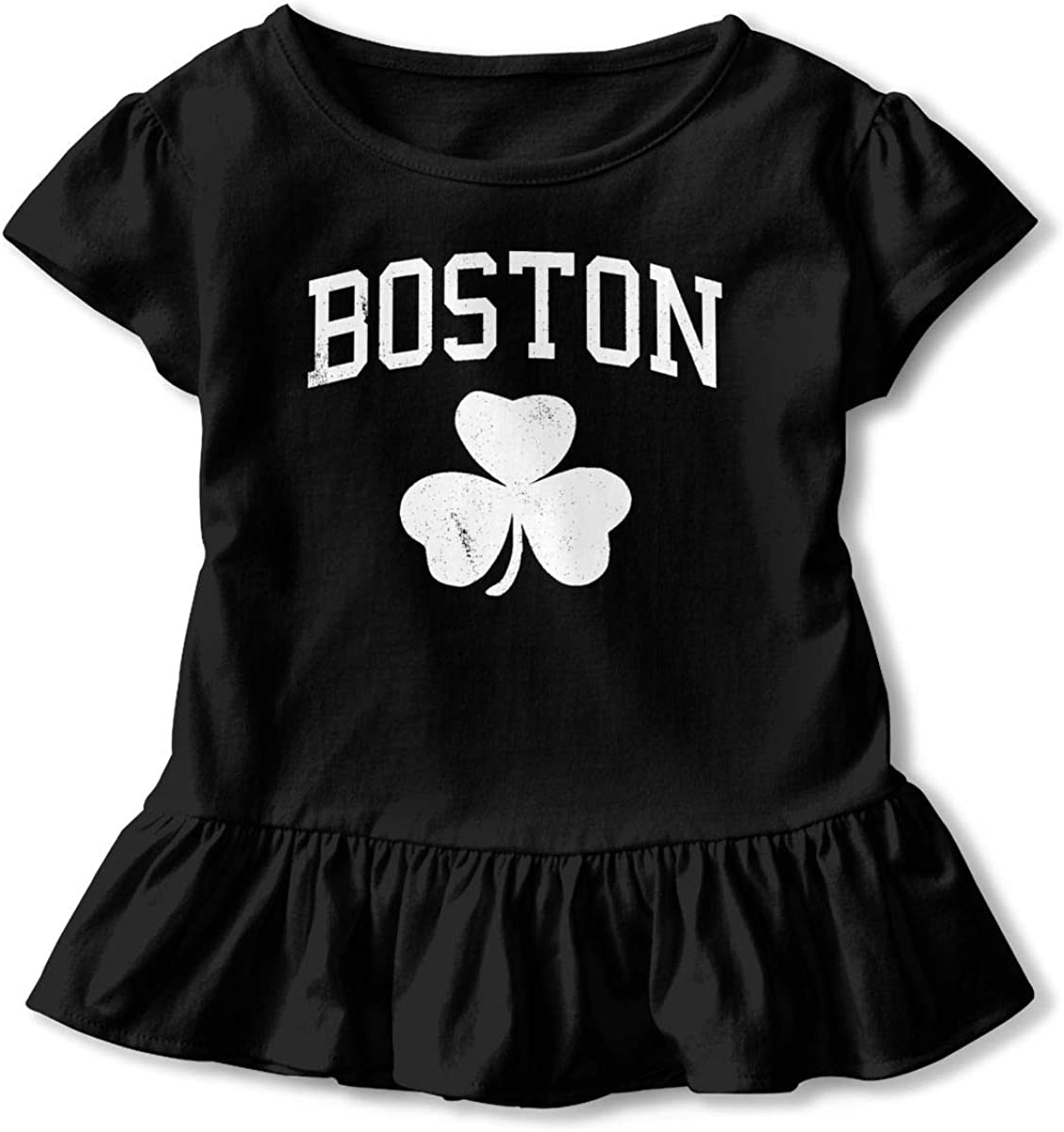 Not Available Boston Shamrock Shirt Baby Girls Ruffles Cotton Tee Shirts for 2-6 Years Old Baby