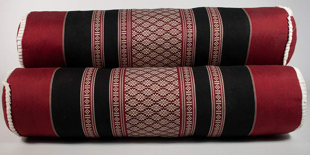 NRG Thai Massage Bolsters, Set of 3-100% Cotton/Poly Blend Cover with Kapok Filling - Thai Mattress Cushions/Pillows for Massage, Yoga and Meditation - 23 Inches x 5.5 Inches - Color: Black/Red by NRG