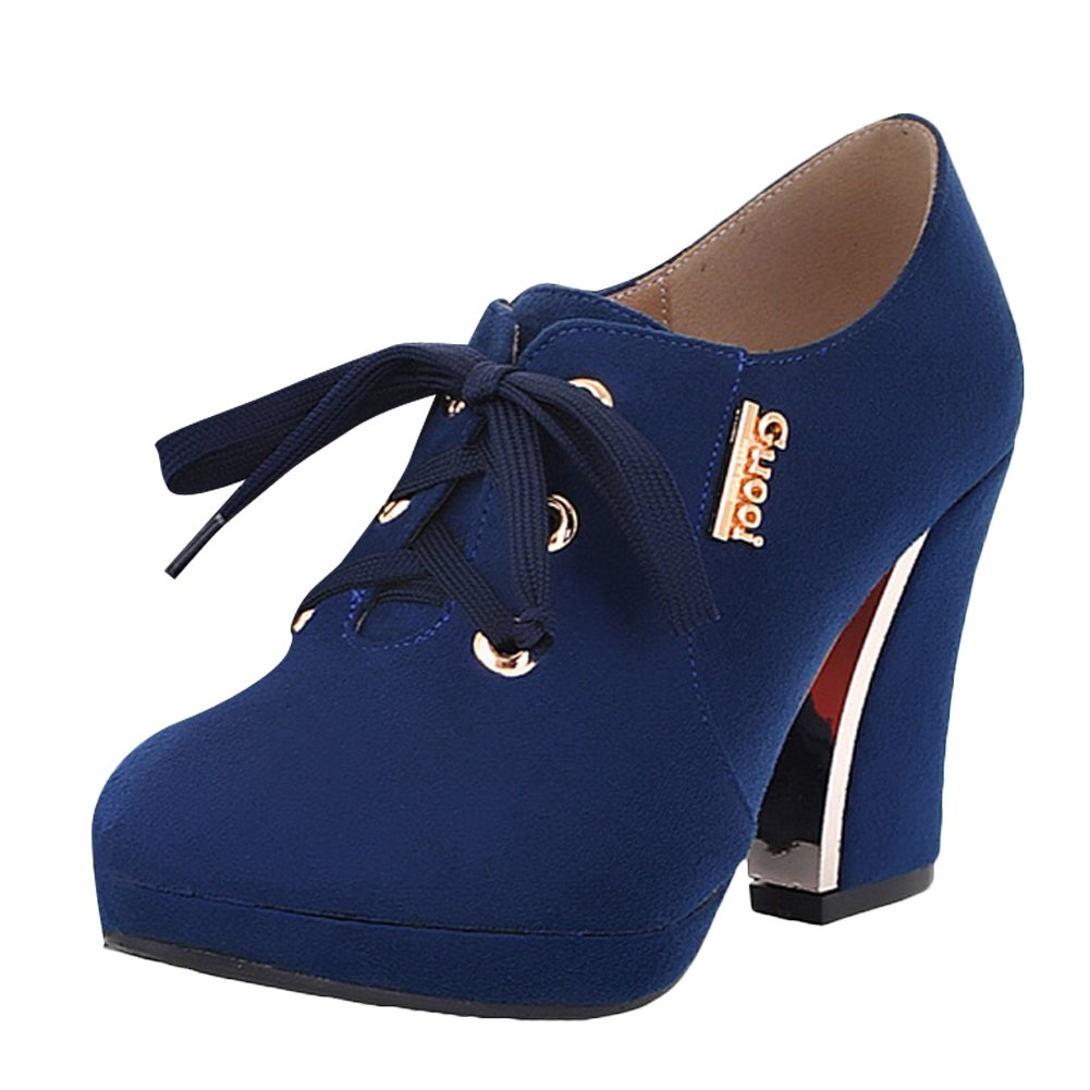 MissSaSa Damen elegant high heel Plateau Schnürsenkel Ankle-Boots  38 EU Blau
