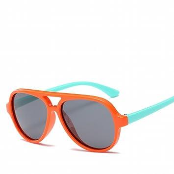 Niños Polarizados Niños Silicona Niños Gafas de Sol Tortugas Retro , Piernas Azules Blandas Del Marco