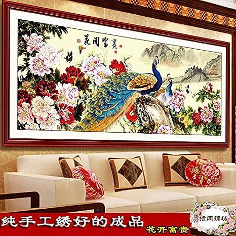 AIGUFENG bordado a mano puro bordado acabado flor peacock peacock diamante versión artificial pinturas de la sala bordadas,Floreciente rico 185 * 80 cm: ...