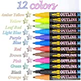 Double Line Outline Pens,Doodle Dazzle Acrylic Paint Pens,12 Colors Glitter Markers,Double Line Metallic Shimmer Marker Paint