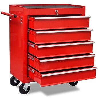 vidaXL Carrito de Herramientas con 5 Cajones Acero Rojo Caja Bricolaje Ruedas