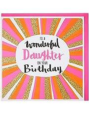 Rachel Ellen Daughter Birthday Card, Red, Pink & Gold - Wonderful Daughter Brthday, 1 Count