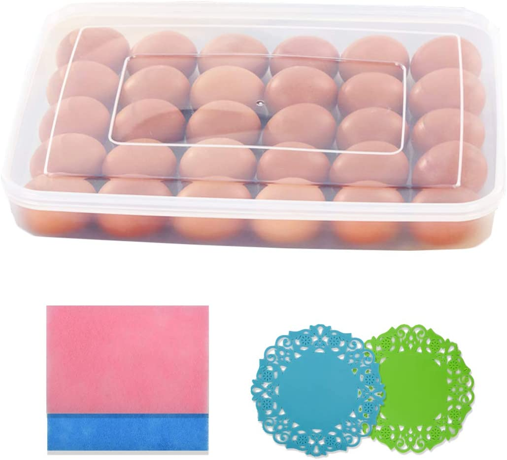 Egg Tray Carrier with Lid, Egg Container Holder for Refrigerator, 30 Egg Tray, Clear(Extra Silicone Trivet Mat &Dishcloth)