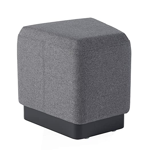 Sunon Pouf Ottoman Stool 16.5L x 15.7W x 16.9H inch Small Ottoman Foot Rest with Padded Cushion and Trapezoid Shape Wooden Base for Multi-Combination Dark Grey