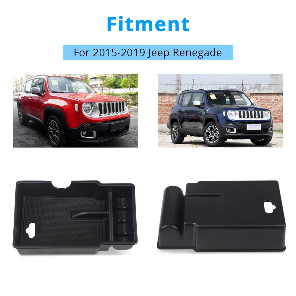 VANJING Center Console Insert Organizer Tray Center Armrest with USB Hole for 2015-2019 Jeep Renegade Accessories Console Organizer for 2015-2019 Jeep Renegade