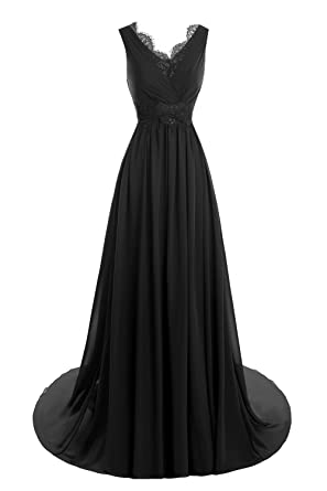 Bess Bridal Womens Lace V Neck Back Formal Long Evening Dresses Black