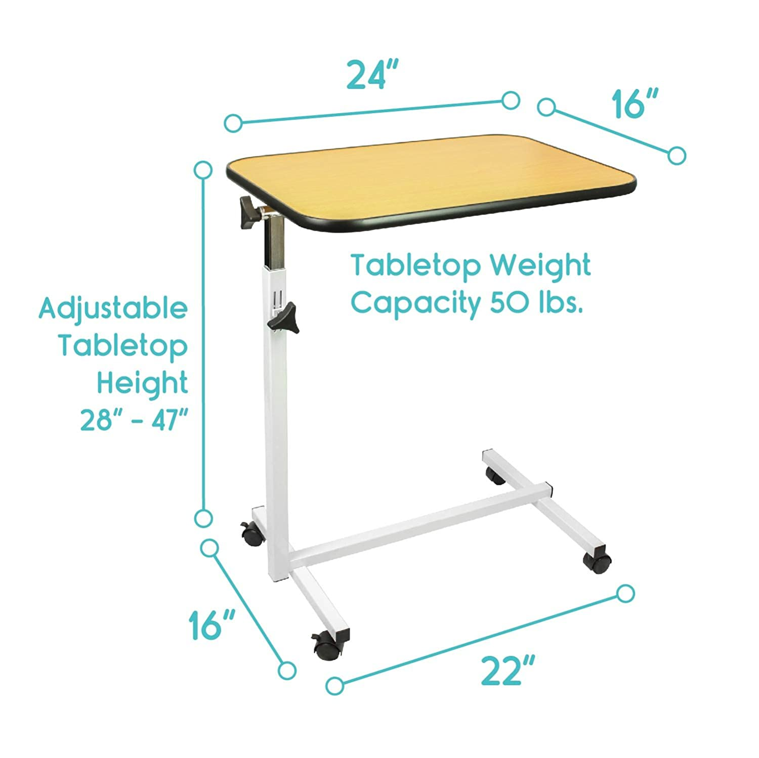 Overbed table food tray non tilt top bed hospital adjustable rolling - Amazon Com Overbed Table By Vive Swivel Tilt Top Rolling Tray Table Adjustable Bed Table For Home Or Hospital Laptop Reading Breakfast Cart For