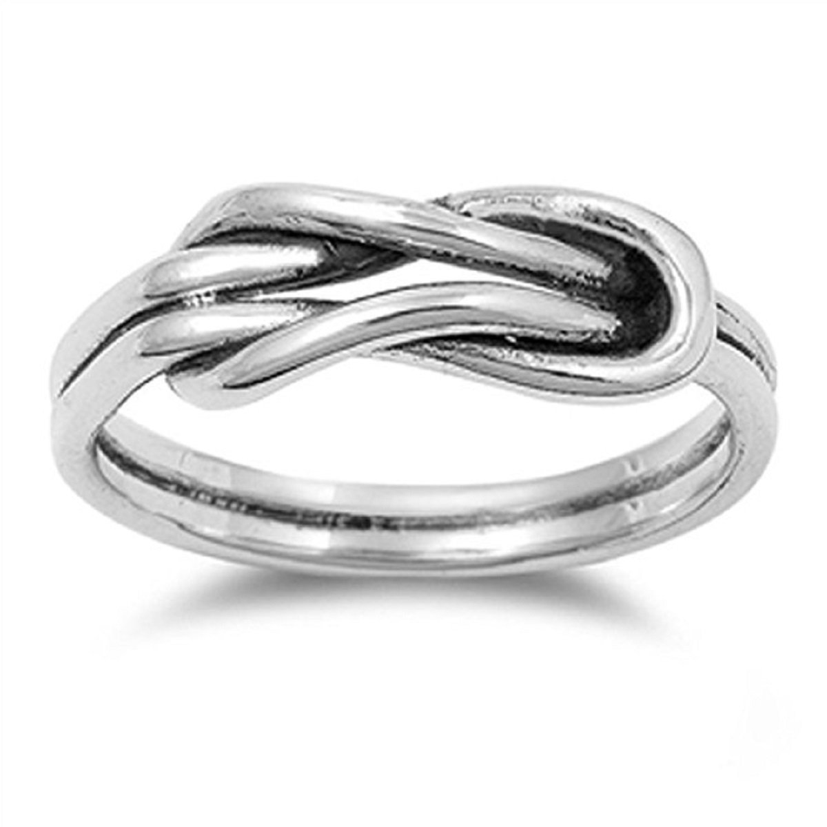 CloseoutWarehouse Oxidized Sterling Silver Infinity Promise Knot Ring Size 4